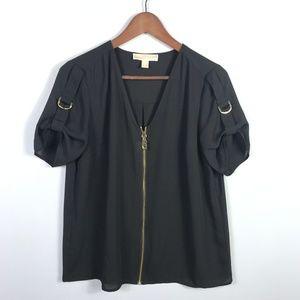 Michael Kors Womens Zip Front Blouse Size M Black